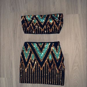 Two piece Mini skirt and crop top